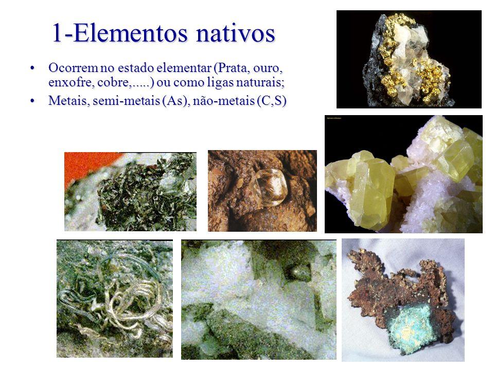 1-Elementos nativos Ocorrem no estado elementar (Prata, ouro, enxofre, cobre,.....) ou como ligas naturais;Ocorrem no estado elementar (Prata, ouro, e
