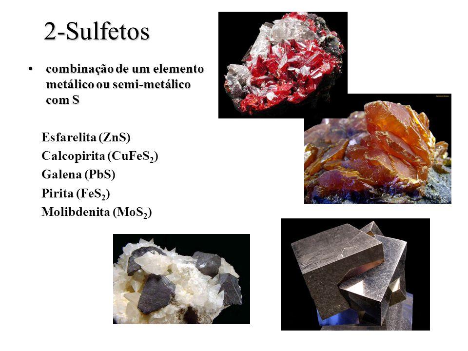 2-Sulfetos combinação de um elemento metálico ou semi-metálico com Scombinação de um elemento metálico ou semi-metálico com S Esfarelita (ZnS) Calcopi