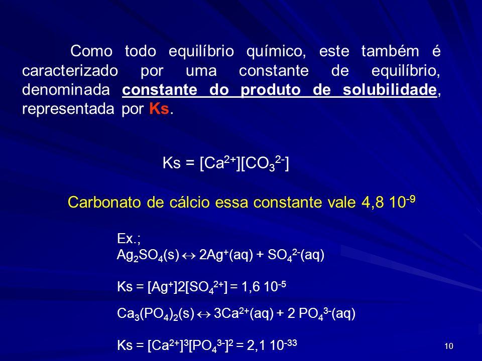 10 Como todo equilíbrio químico, este também é caracterizado por uma constante de equilíbrio, denominada constante do produto de solubilidade, representada por Ks.
