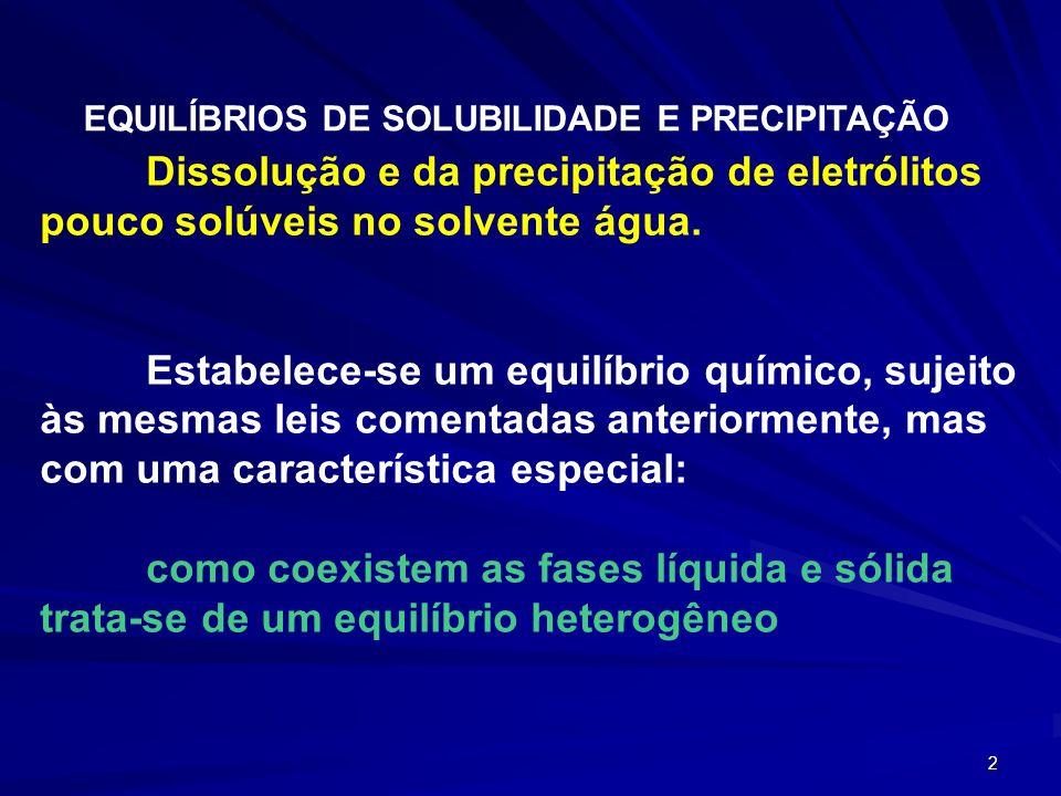 2 Dissolução e da precipitação de eletrólitos pouco solúveis no solvente água. Estabelece-se um equilíbrio químico, sujeito às mesmas leis comentadas
