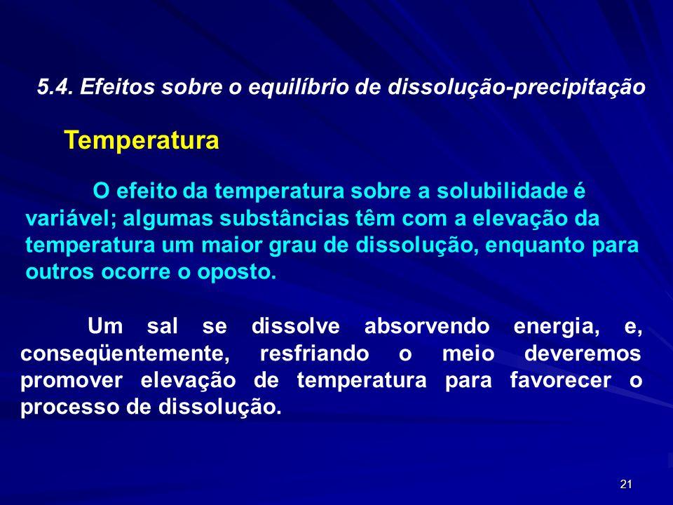 21 5.4. Efeitos sobre o equilíbrio de dissolução-precipitação Temperatura O efeito da temperatura sobre a solubilidade é variável; algumas substâncias