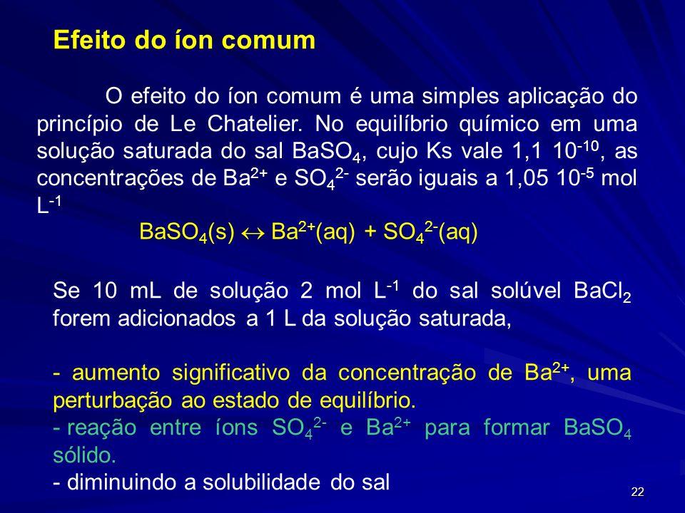 22 Efeito do íon comum O efeito do íon comum é uma simples aplicação do princípio de Le Chatelier. No equilíbrio químico em uma solução saturada do sa