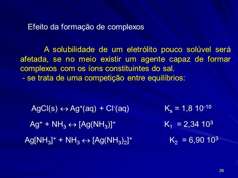26 Efeito da formação de complexos A solubilidade de um eletrólito pouco solúvel será afetada, se no meio existir um agente capaz de formar complexos com os íons constituintes do sal.