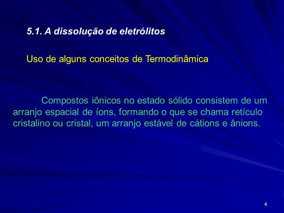 4 5.1. A dissolução de eletrólitos Uso de alguns conceitos de Termodinâmica Compostos iônicos no estado sólido consistem de um arranjo espacial de íon