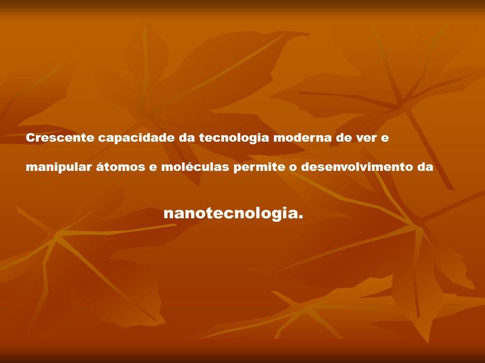 Crescente capacidade da tecnologia moderna de ver e manipular átomos e moléculas permite o desenvolvimento da nanotecnologia.