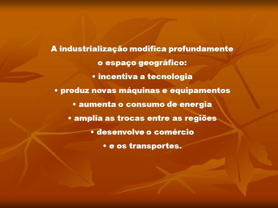 A industrialização modifica profundamente o espaço geográfico: incentiva a tecnologia produz novas máquinas e equipamentos aumenta o consumo de energi