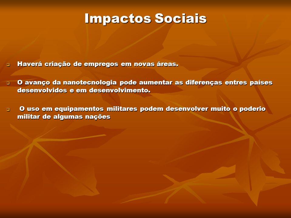 Impactos Sociais Haverá criação de empregos em novas áreas. Haverá criação de empregos em novas áreas. O avanço da nanotecnologia pode aumentar as dif