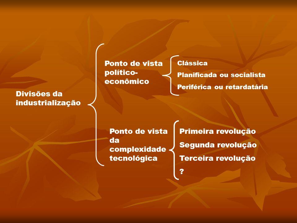 Divisões da industrialização Ponto de vista político- econômico Clássica Planificada ou socialista Periférica ou retardatária Ponto de vista da comple