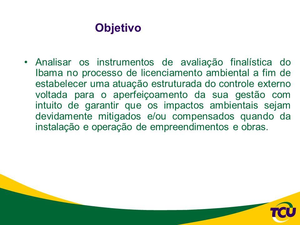 Objetivo Analisar os instrumentos de avaliação finalística do Ibama no processo de licenciamento ambiental a fim de estabelecer uma atuação estruturad