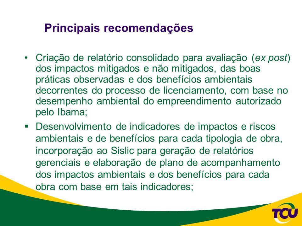 Principais recomendações Desenvolvimento de metodologia para estipulação de condicionantes e critérios de classificação de condicionantes no que se refere à prioridade, relevância e risco, com base nos objetivos e metas ambientais a serem alcançados no licenciamento, de acordo com o tipo de obra; e Análise da oportunidade e conveniência de estimular a prática de comissões institucionais especiais de acompanhamento de impactos ambientais com representantes comunitários ou com organizações não governamentais.