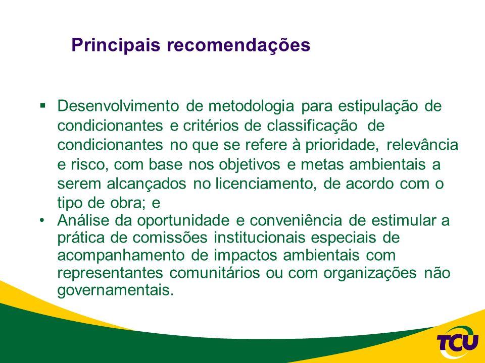 Principais recomendações Desenvolvimento de metodologia para estipulação de condicionantes e critérios de classificação de condicionantes no que se re