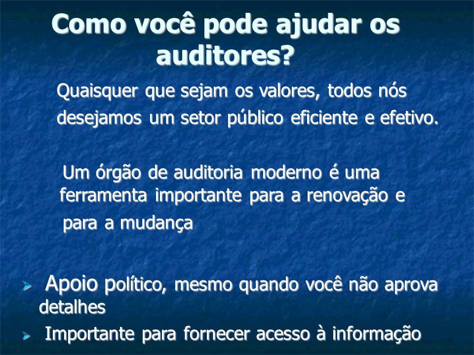 Como você pode ajudar os auditores? Quaisquer que sejam os valores, todos nós Quaisquer que sejam os valores, todos nós desejamos um setor público efi