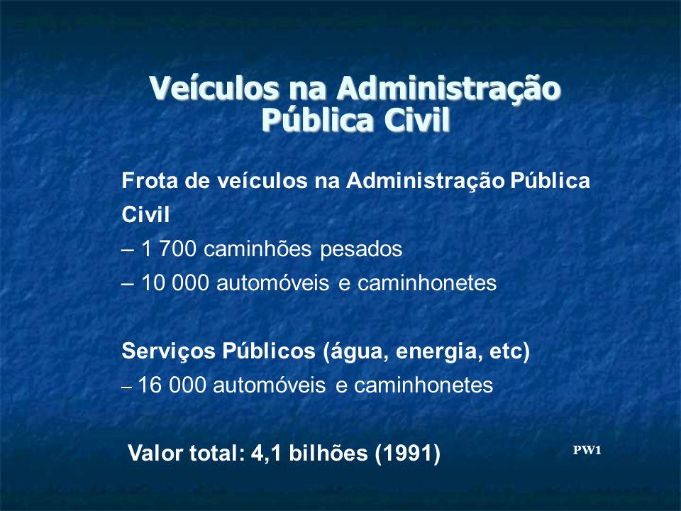 Veículos na Administração Pública Civil Frota de veículos na Administração Pública Civil – 1 700 caminhões pesados – 10 000 automóveis e caminhonetes Serviços Públicos (água, energia, etc) – 16 000 automóveis e caminhonetes Valor total: 4,1 bilhões (1991) PW1