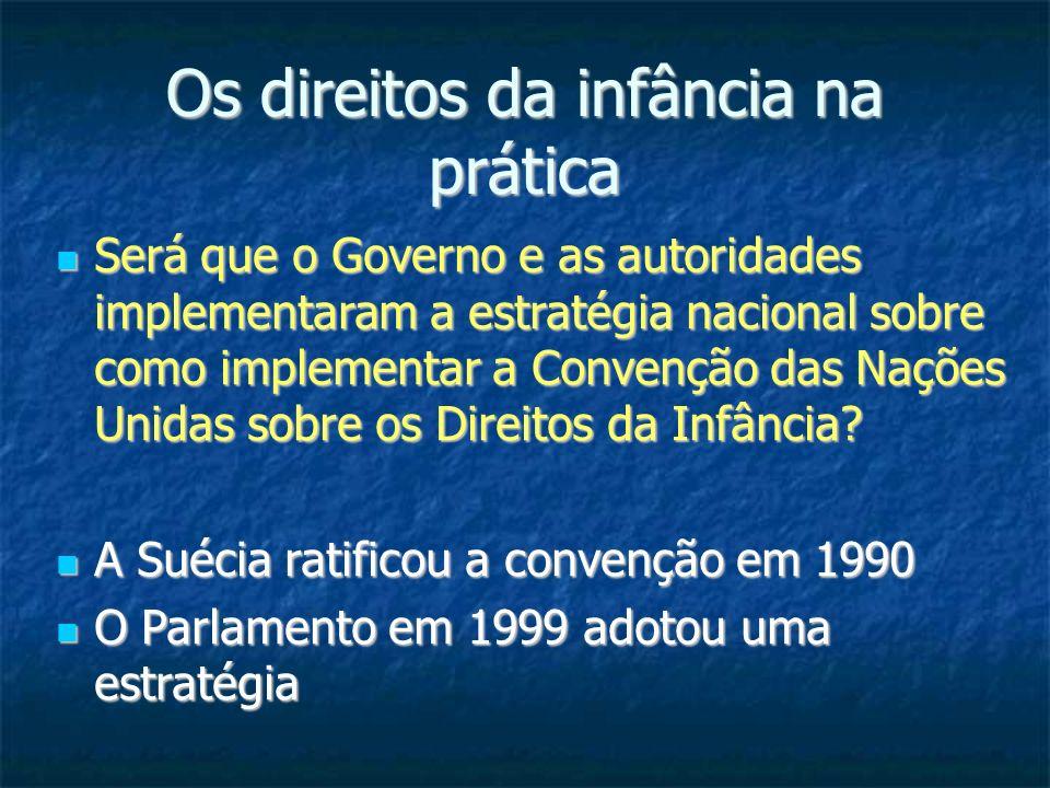 Os direitos da infância na prática Será que o Governo e as autoridades implementaram a estratégia nacional sobre como implementar a Convenção das Naçõ