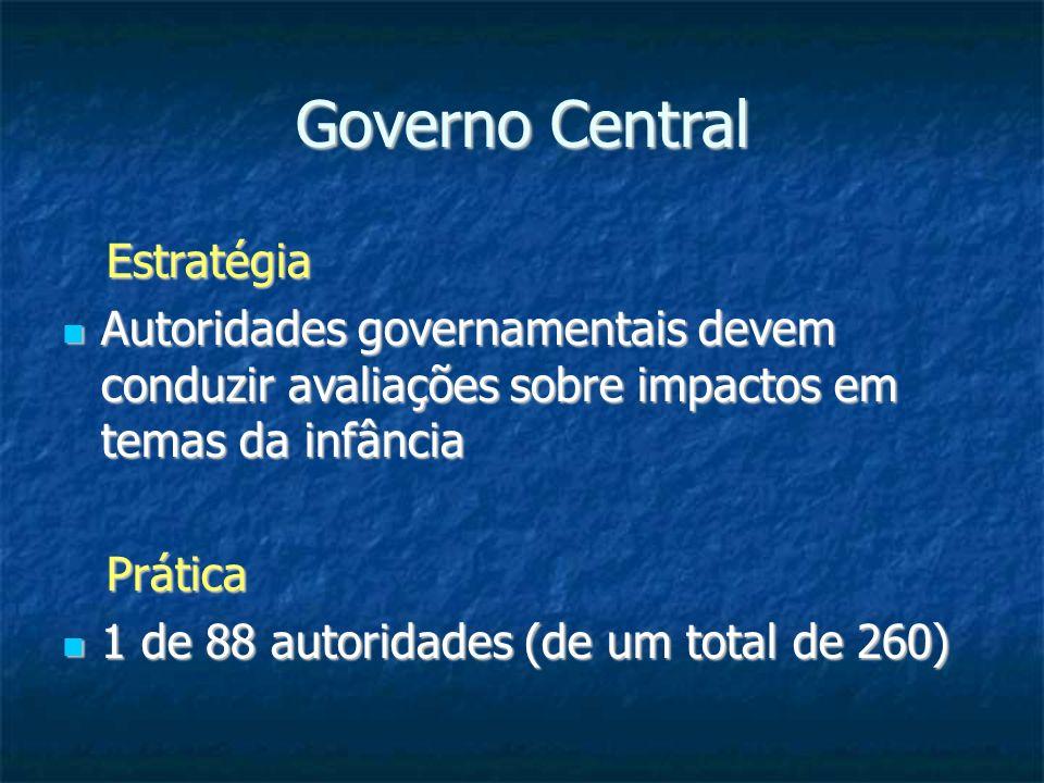 Governo Central Estratégia Estratégia Autoridades governamentais devem conduzir avaliações sobre impactos em temas da infância Autoridades governament