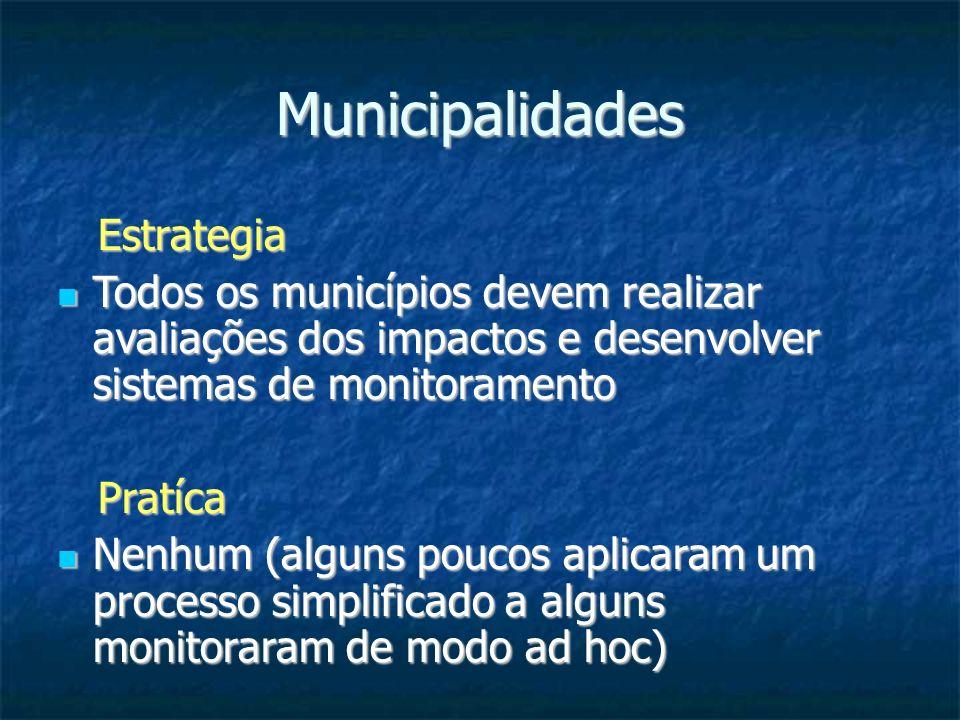 Municipalidades Estrategia Estrategia Todos os municípios devem realizar avaliações dos impactos e desenvolver sistemas de monitoramento Todos os muni