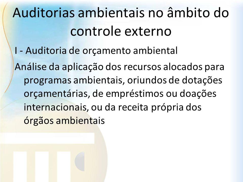 Auditorias ambientais no âmbito do controle externo I - Auditoria de orçamento ambiental Análise da aplicação dos recursos alocados para programas amb