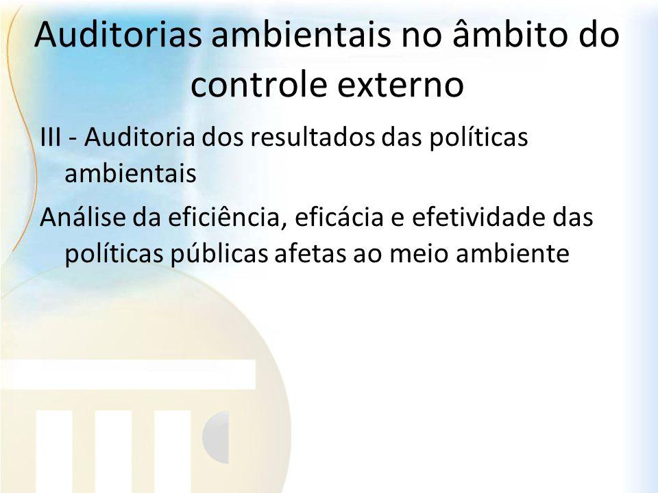 Auditorias ambientais no âmbito do controle externo III - Auditoria dos resultados das políticas ambientais Análise da eficiência, eficácia e efetivid