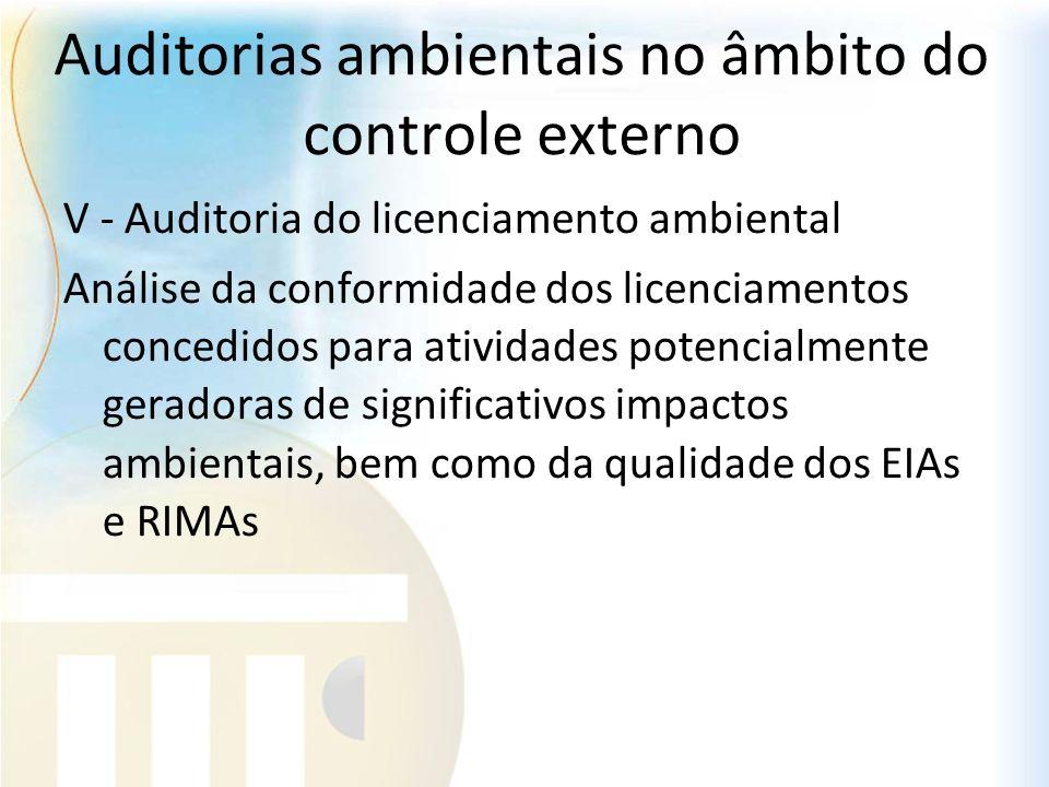 Auditorias ambientais no âmbito do controle externo V - Auditoria do licenciamento ambiental Análise da conformidade dos licenciamentos concedidos par