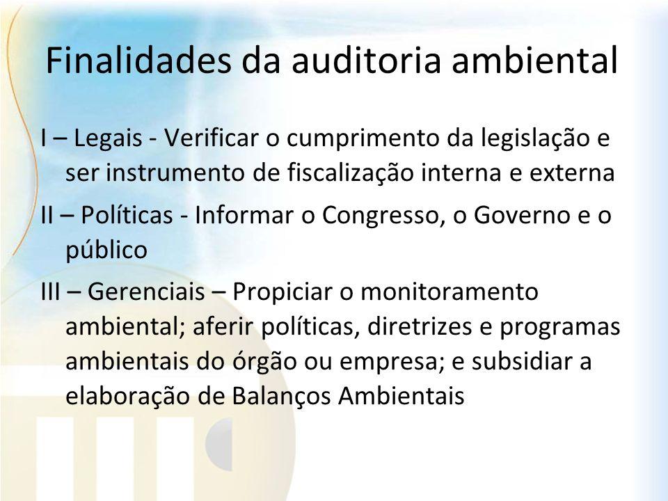 Finalidades da auditoria ambiental I – Legais - Verificar o cumprimento da legislação e ser instrumento de fiscalização interna e externa II – Polític