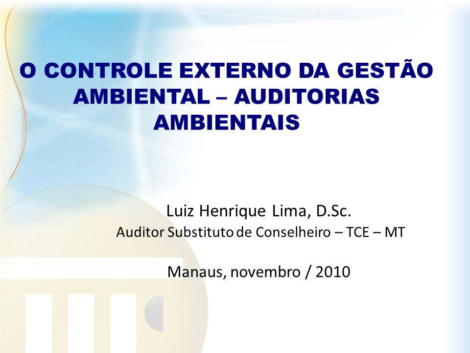 Luiz Henrique Lima, D.Sc. Auditor Substituto de Conselheiro – TCE – MT Manaus, novembro / 2010 O CONTROLE EXTERNO DA GESTÃO AMBIENTAL – AUDITORIAS AMB