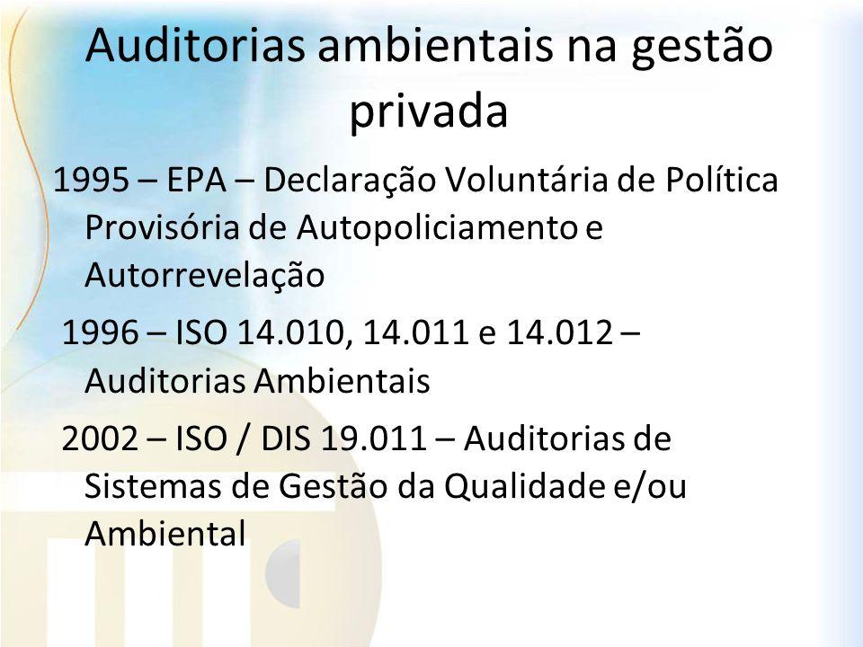 Auditorias ambientais na gestão privada 1995 – EPA – Declaração Voluntária de Política Provisória de Autopoliciamento e Autorrevelação 1996 – ISO 14.0