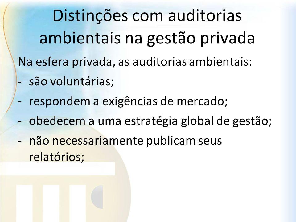 Distinções com auditorias ambientais na gestão privada Na esfera privada, as auditorias ambientais: -são voluntárias; -respondem a exigências de merca