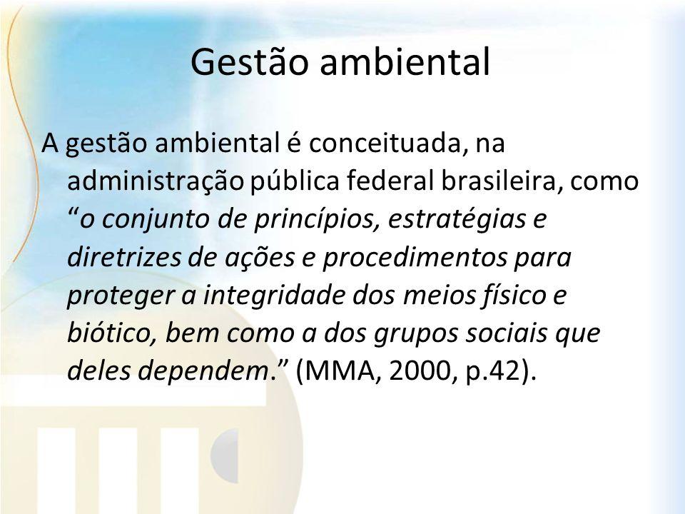 Gestão ambiental A gestão ambiental é conceituada, na administração pública federal brasileira, comoo conjunto de princípios, estratégias e diretrizes