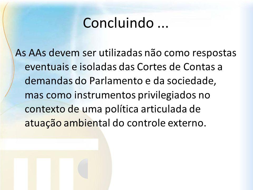 Concluindo... As AAs devem ser utilizadas não como respostas eventuais e isoladas das Cortes de Contas a demandas do Parlamento e da sociedade, mas co