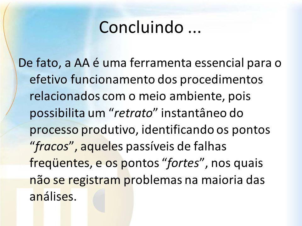 Concluindo... De fato, a AA é uma ferramenta essencial para o efetivo funcionamento dos procedimentos relacionados com o meio ambiente, pois possibili