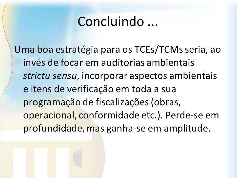 Concluindo... Uma boa estratégia para os TCEs/TCMs seria, ao invés de focar em auditorias ambientais strictu sensu, incorporar aspectos ambientais e i