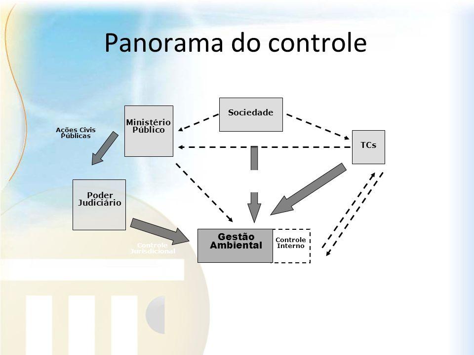 Panorama do controle Gestão Ambiental Sociedade TCs Ministério Público Poder Judiciário Controle Externo Controle Jurisdicional Ações Civis Públicas C