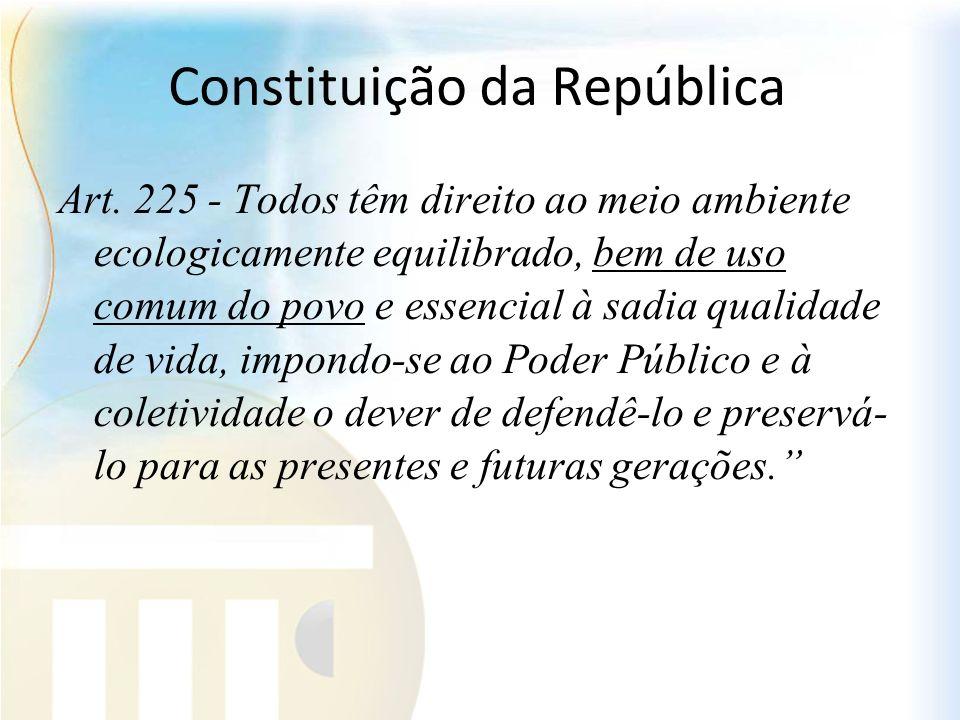 Constituição da República Art. 225 - Todos têm direito ao meio ambiente ecologicamente equilibrado, bem de uso comum do povo e essencial à sadia quali