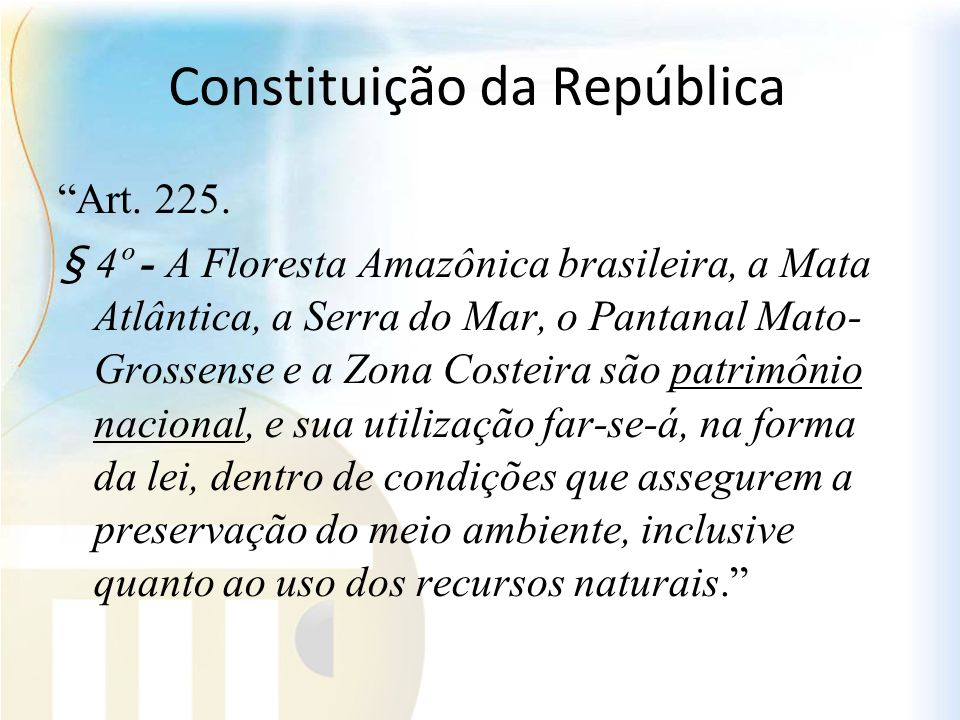 Constituição da República Art. 225. § 4º - A Floresta Amazônica brasileira, a Mata Atlântica, a Serra do Mar, o Pantanal Mato- Grossense e a Zona Cost