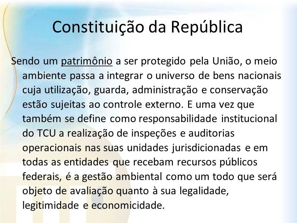 Constituição da República Sendo um patrimônio a ser protegido pela União, o meio ambiente passa a integrar o universo de bens nacionais cuja utilizaçã