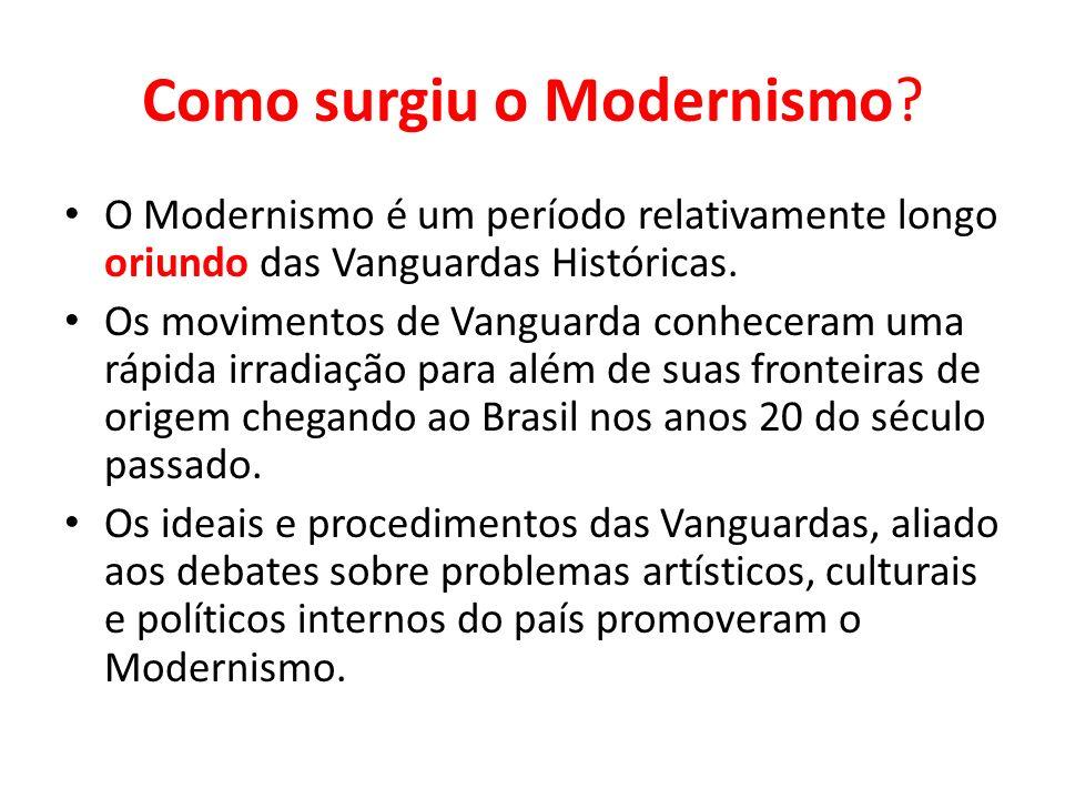 Como surgiu o Modernismo? O Modernismo é um período relativamente longo oriundo das Vanguardas Históricas. Os movimentos de Vanguarda conheceram uma r