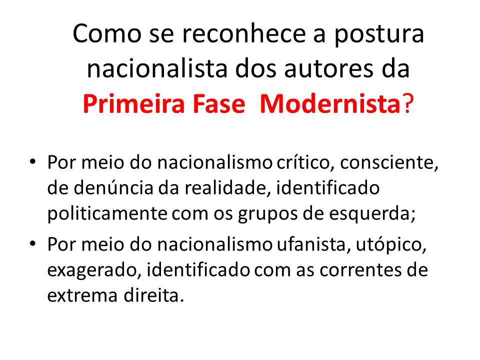Como se reconhece a postura nacionalista dos autores da Primeira Fase Modernista? Por meio do nacionalismo crítico, consciente, de denúncia da realida