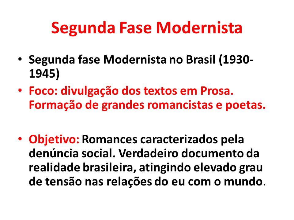 Segunda Fase Modernista Segunda fase Modernista no Brasil (1930- 1945) Foco: divulgação dos textos em Prosa. Formação de grandes romancistas e poetas.