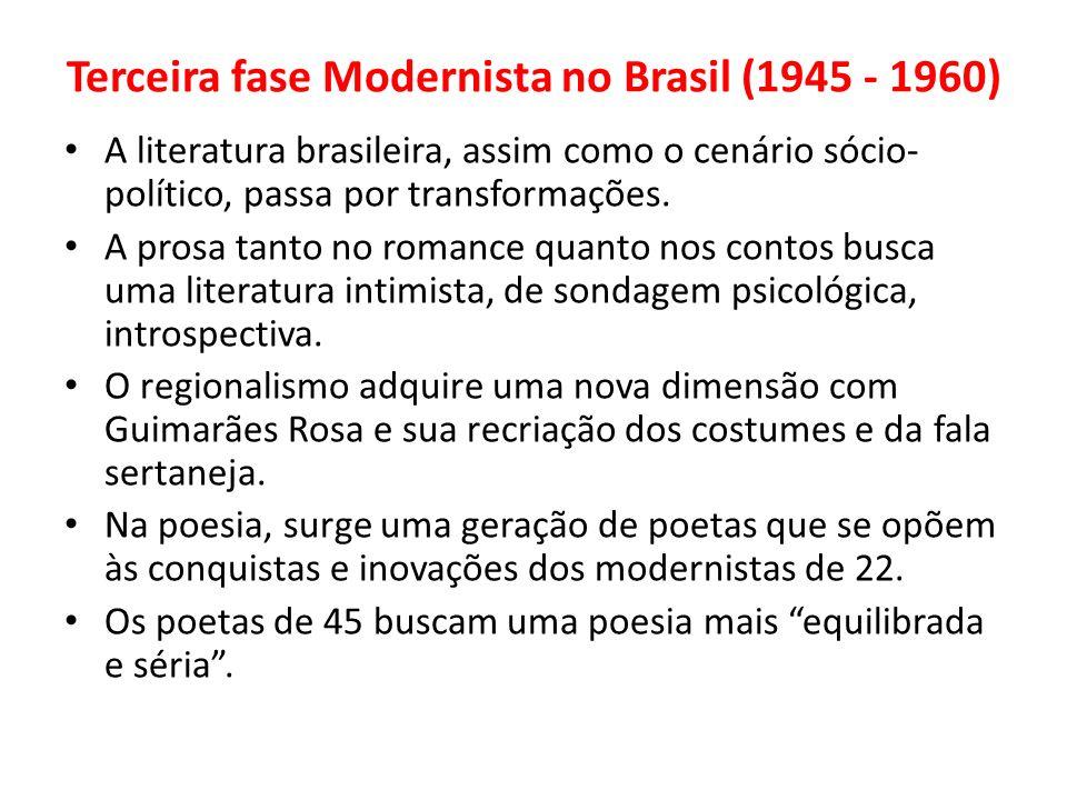 Terceira fase Modernista no Brasil (1945 - 1960) A literatura brasileira, assim como o cenário sócio- político, passa por transformações. A prosa tant