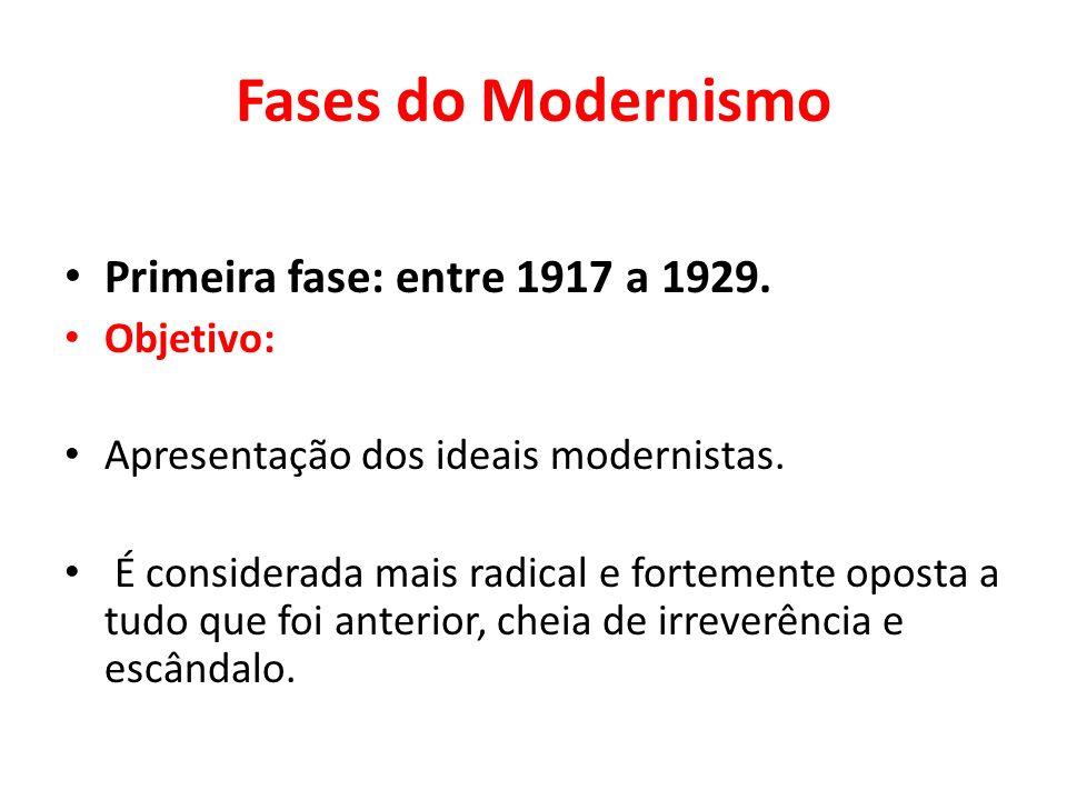 Fases do Modernismo Primeira fase: entre 1917 a 1929. Objetivo: Apresentação dos ideais modernistas. É considerada mais radical e fortemente oposta a