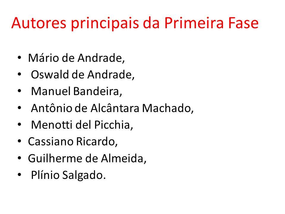 Autores principais da Primeira Fase Mário de Andrade, Oswald de Andrade, Manuel Bandeira, Antônio de Alcântara Machado, Menotti del Picchia, Cassiano