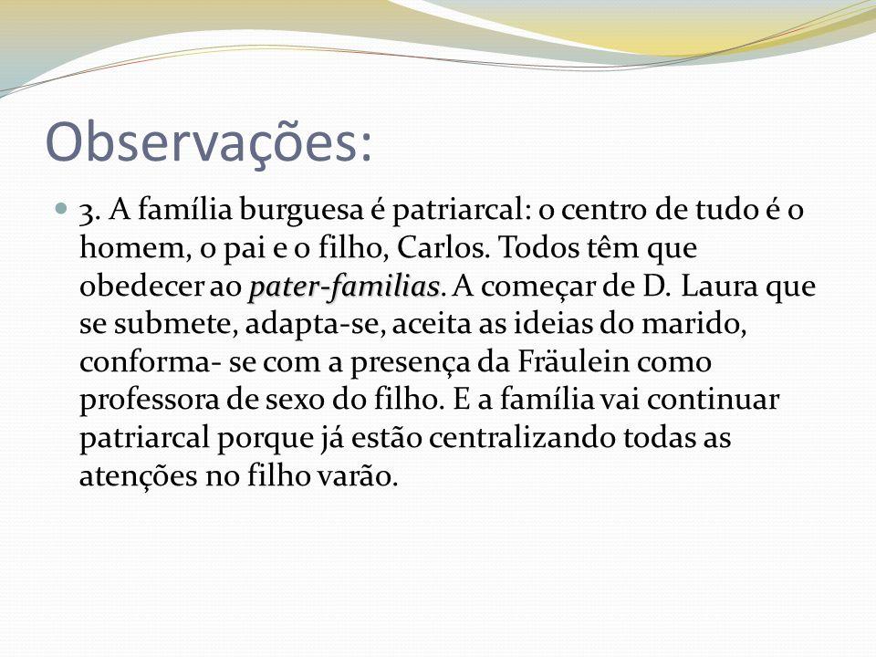 Observações: pater-familias 3. A família burguesa é patriarcal: o centro de tudo é o homem, o pai e o filho, Carlos. Todos têm que obedecer ao pater-f