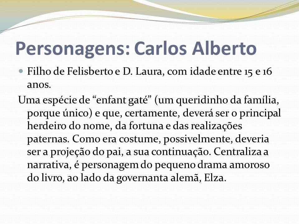 Personagens: Carlos Alberto Filho de Felisberto e D. Laura, com idade entre 15 e 16 anos. Uma espécie de enfant gaté (um queridinho da família, porque