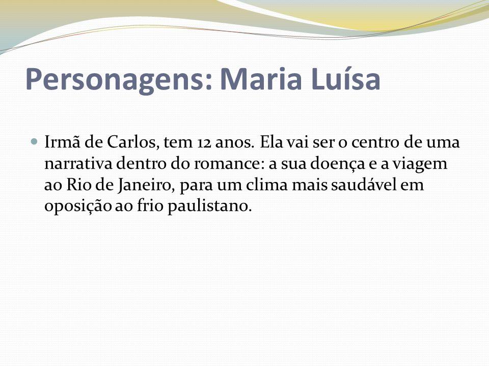 Personagens: Maria Luísa Irmã de Carlos, tem 12 anos. Ela vai ser o centro de uma narrativa dentro do romance: a sua doença e a viagem ao Rio de Janei