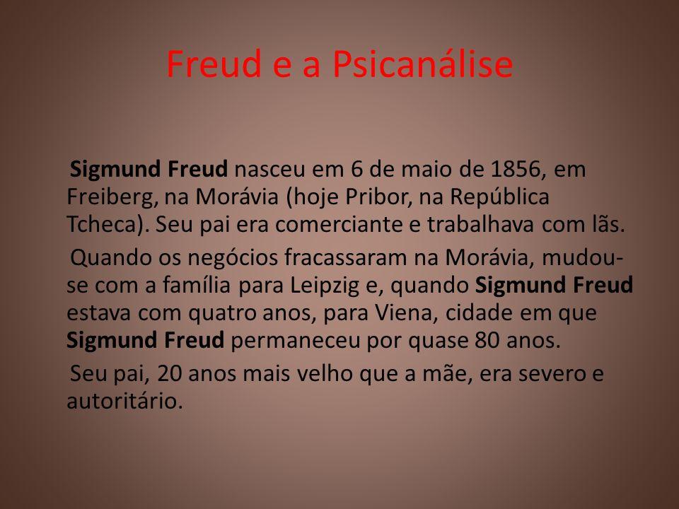 Freud e a Psicanálise Sigmund Freud nasceu em 6 de maio de 1856, em Freiberg, na Morávia (hoje Pribor, na República Tcheca). Seu pai era comerciante e