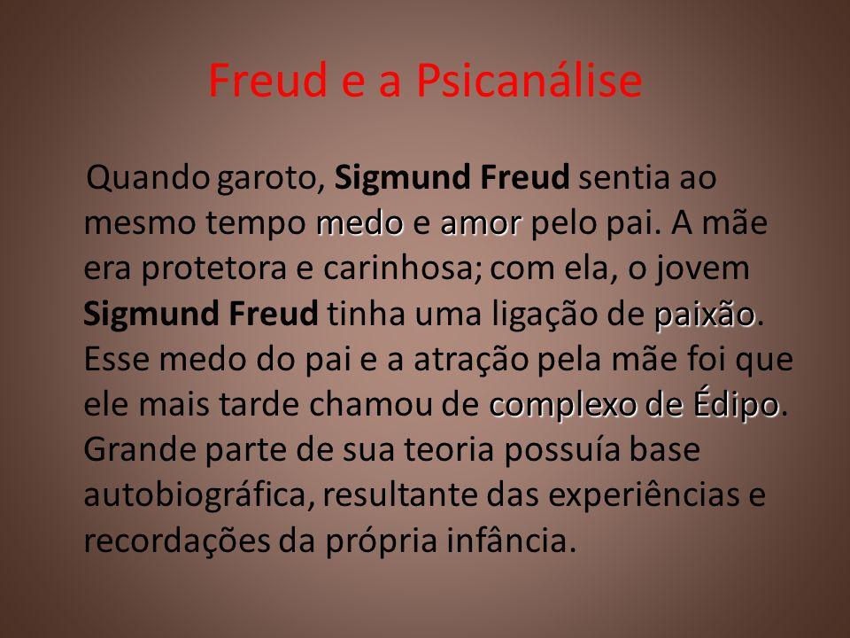 Freud e a Psicanálise medoamor paixão complexo de Édipo Quando garoto, Sigmund Freud sentia ao mesmo tempo medo e amor pelo pai. A mãe era protetora e