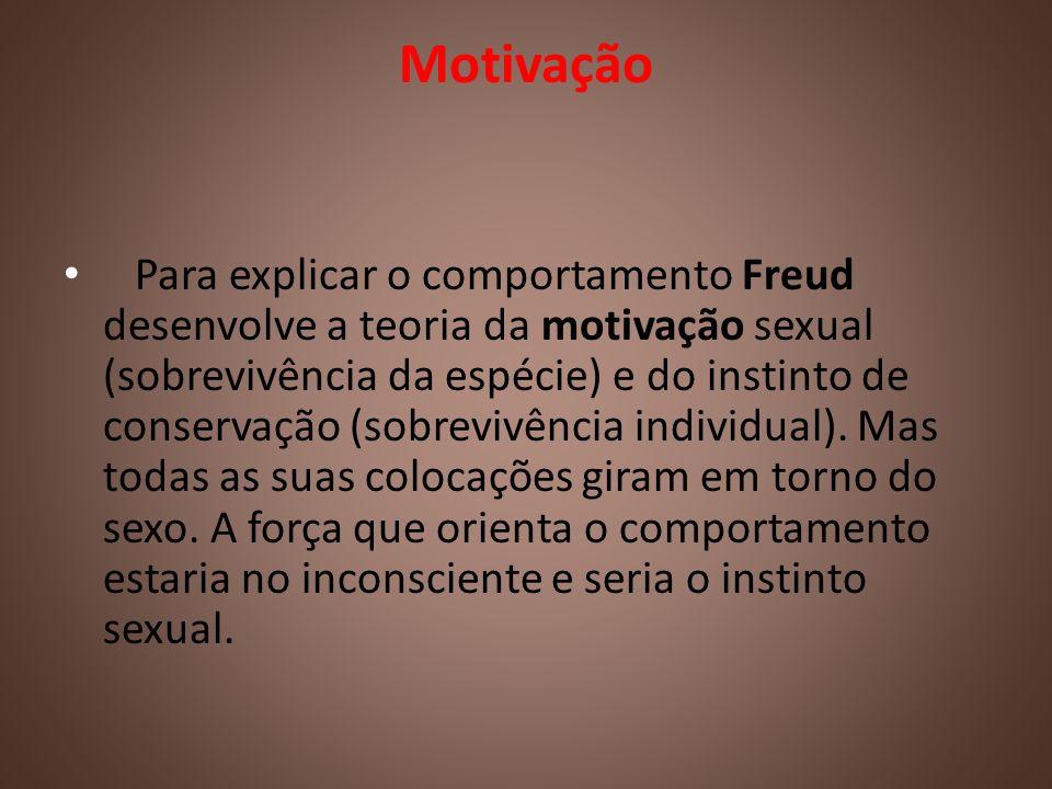 Motivação Para explicar o comportamento Freud desenvolve a teoria da motivação sexual (sobrevivência da espécie) e do instinto de conservação (sobrevi
