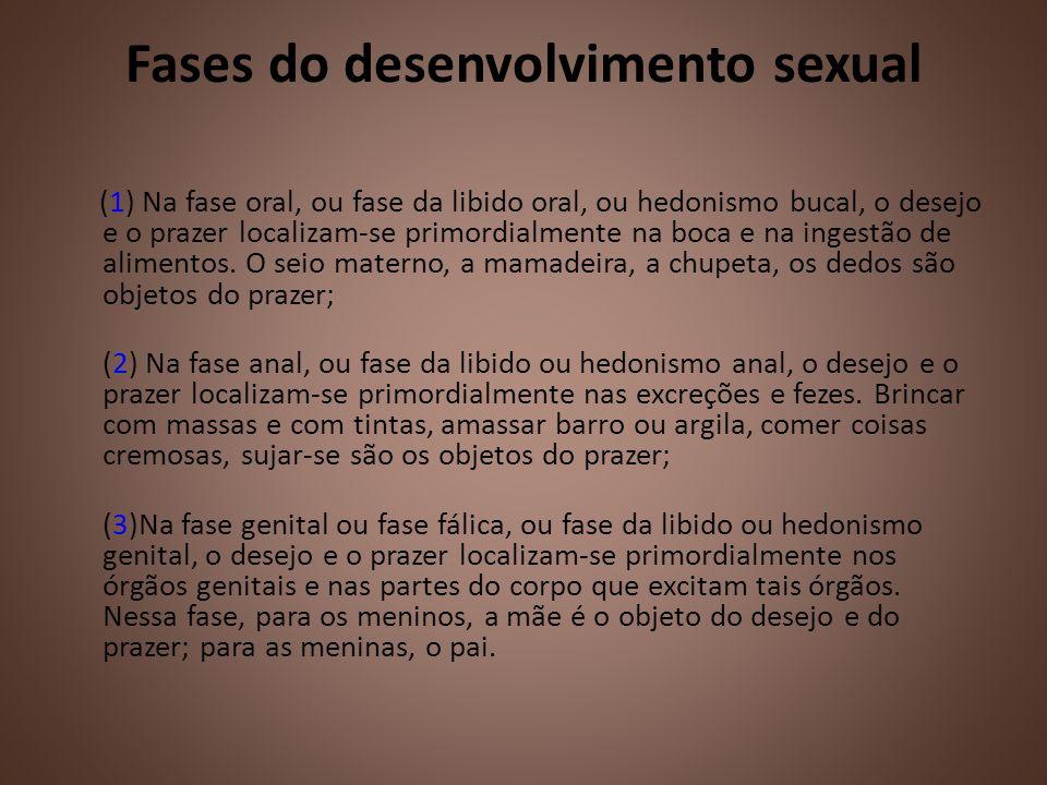 Fases do desenvolvimento sexual (1) Na fase oral, ou fase da libido oral, ou hedonismo bucal, o desejo e o prazer localizam-se primordialmente na boca