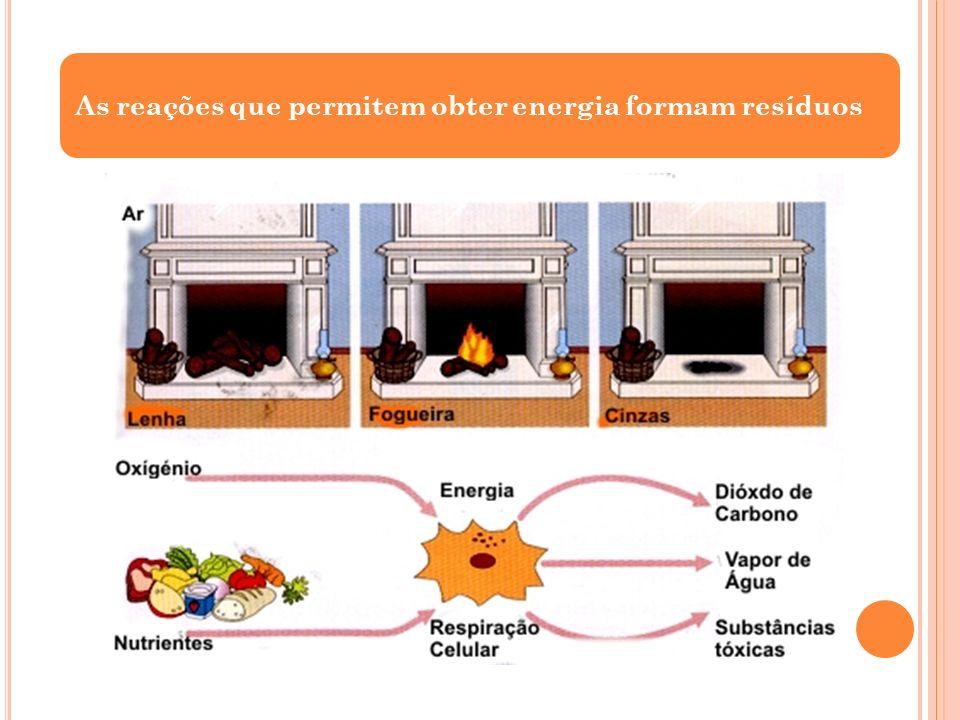 As reações que permitem obter energia formam resíduos