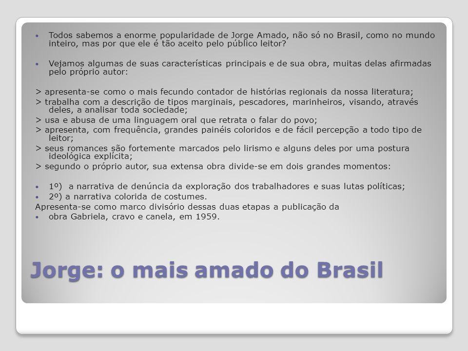 Jorge: o mais amado do Brasil Todos sabemos a enorme popularidade de Jorge Amado, não só no Brasil, como no mundo inteiro, mas por que ele é tão aceito pelo público leitor.